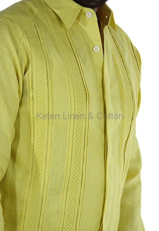 Italian Linen Hand Made Guayabera Keten Men Shirt Style Cuban Shirts Linen Suit