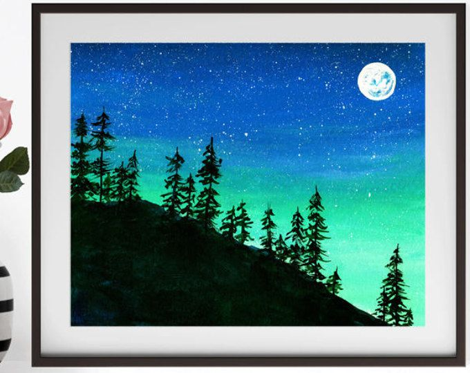 Night Sky Painting Blue Green Night Sky Acrylic Night Sky Painting Night Painting Painting Inspiration Canvas