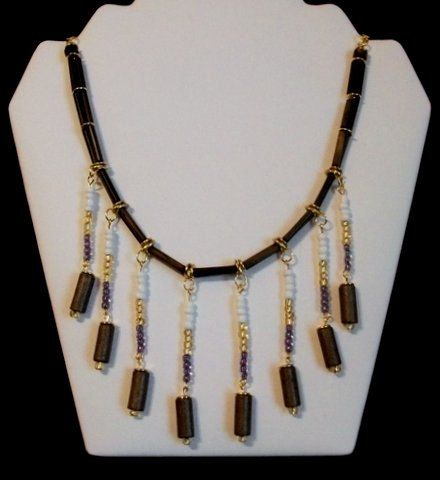 Brown Wood bead and Gold Spacers with  Dangles Necklace by Culbertscreations on Etsy