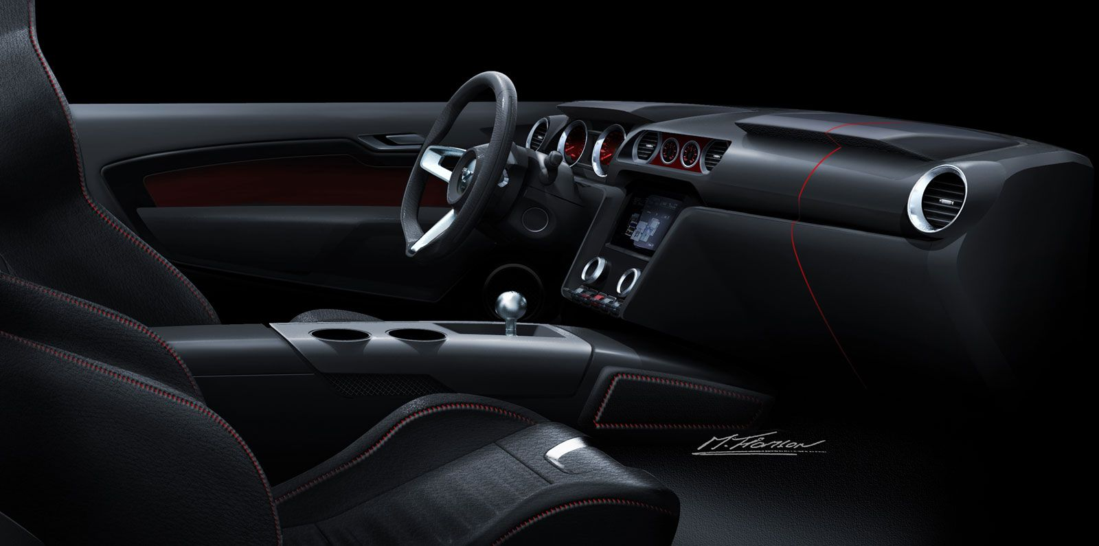 2015 Ford Mustang Interior Design Rendering Theme A Car Stuff Sketches