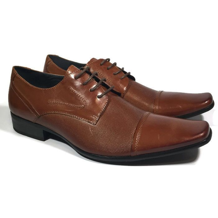 Steve Madden Mens MARVELL Tan Leather Dress Shoes SIZE 9 | eBay