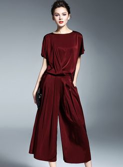 Casual Loose Pure Color Wide Leg Jumpsuits