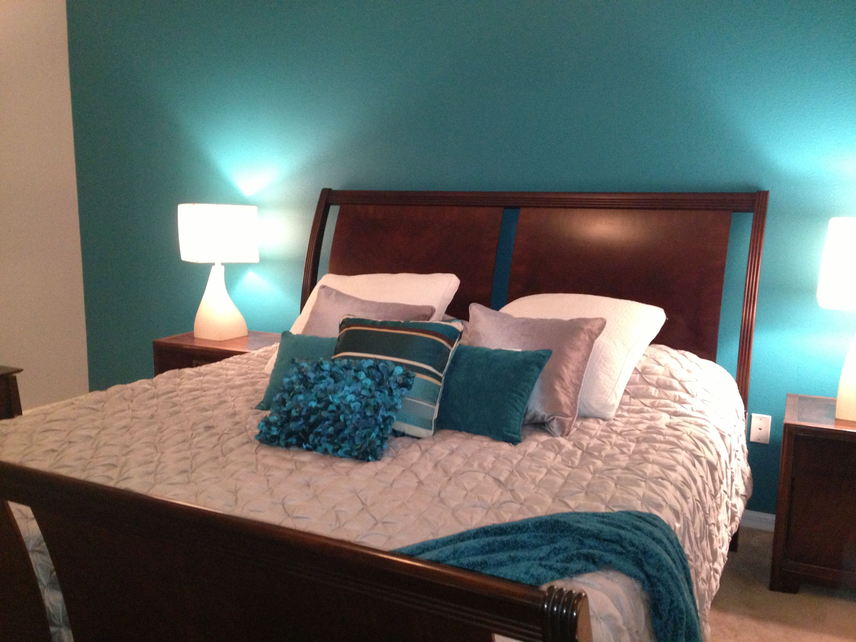 My master bedroom teal and grey My rooms