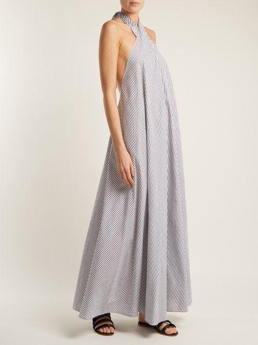 Lucille striped halterneck cotton dress Mara Hoffman 1VOogNIqK