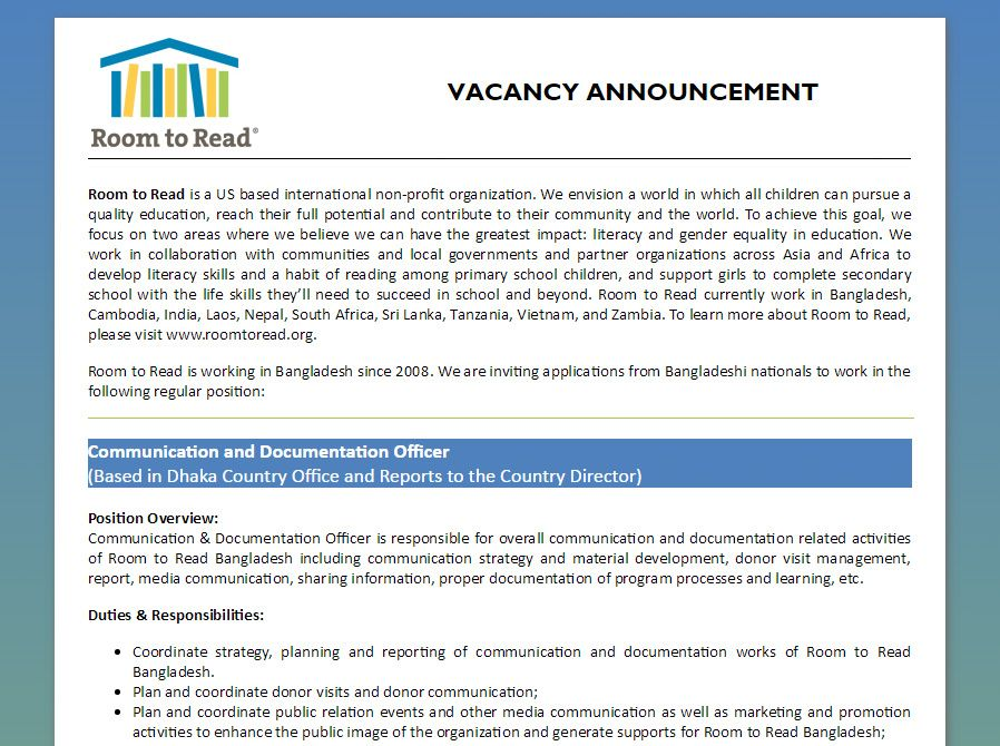 Room to Read - Communication and Documentation Officer - Jobs - job promotion announcement