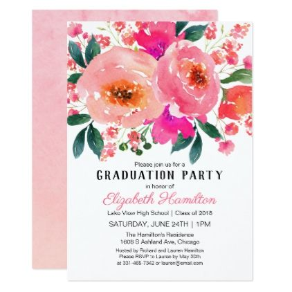 Pink floral lovely bouquet graduation party card pink floral lovely bouquet graduation party card graduation party invitations card cards cyo grad celebration filmwisefo