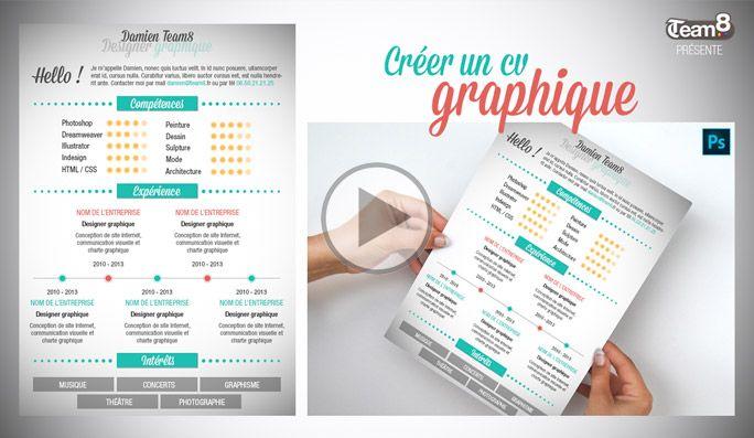 Modele Cv Graphique Gratuit Tutoriel Video Photoshop Gratuit En Francais Apprendre A Creer Un Modele De Cv Graphique Gratu Cv Graphique Creer Un Cv Photoshop