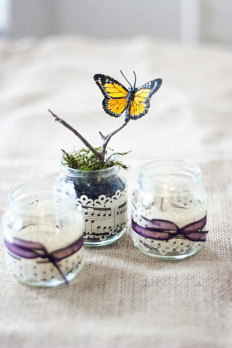 Spring Mini Planters Baby Food Jars And Sheet Music