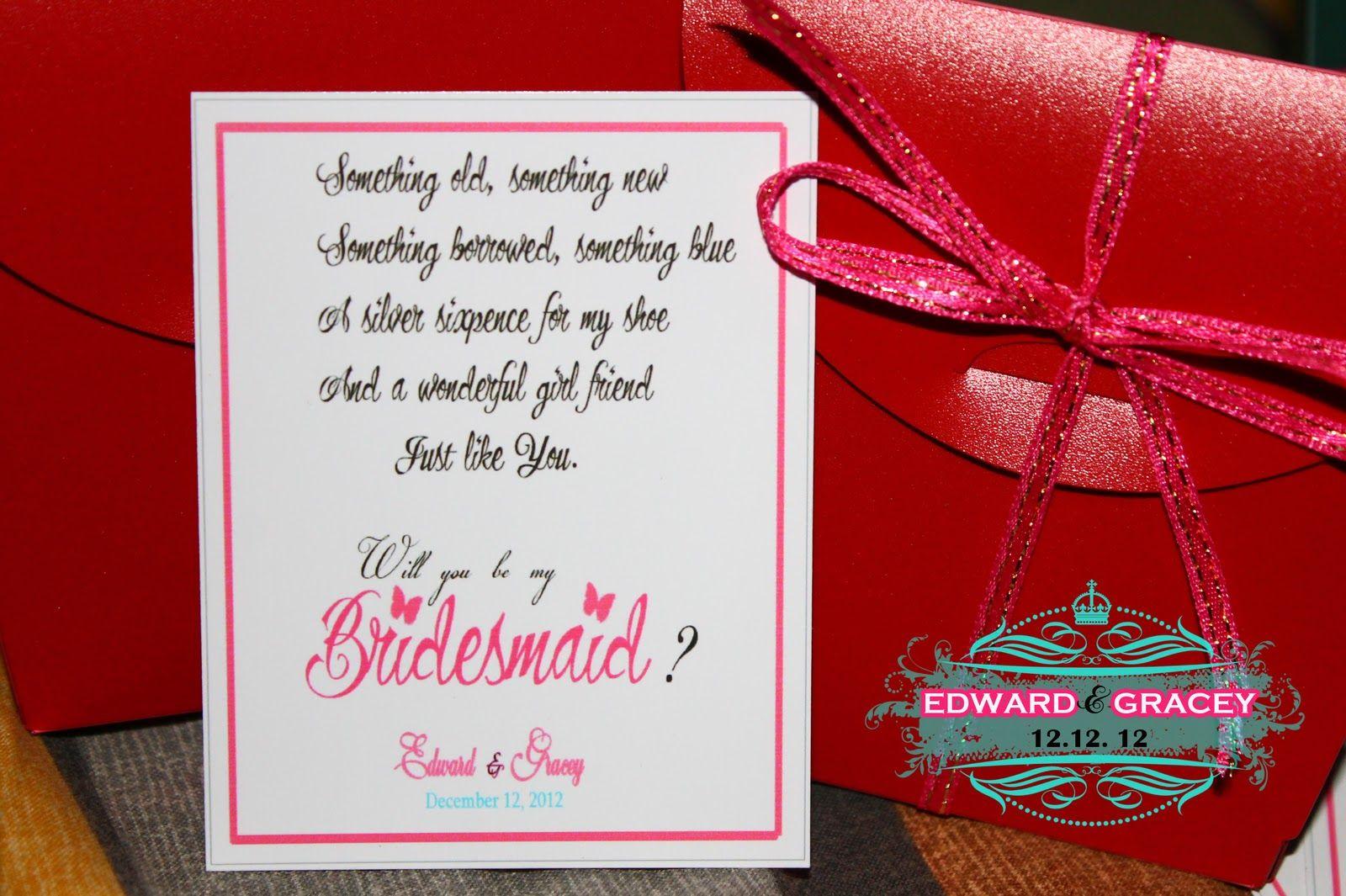bridesmaid poem | Wedding | Pinterest | Bridesmaid poems, Wedding ...