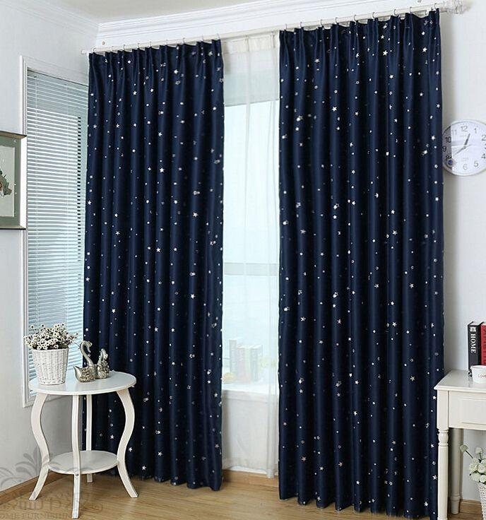 Eco Friendly Blackout Navy Star Printing Kids Room Curtains En