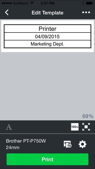 iPad using Brother iPrint&Label + PTP750W. Printing