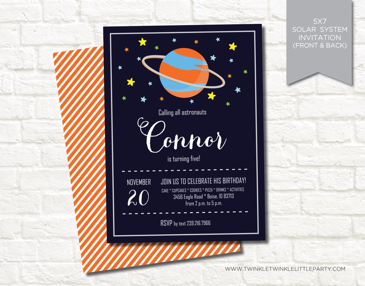 Solar System Outer Space Digital Printable Birthday Invitation by twinklelittleparty on Etsy https://www.etsy.com/listing/151055293/solar-system-outer-space-digital