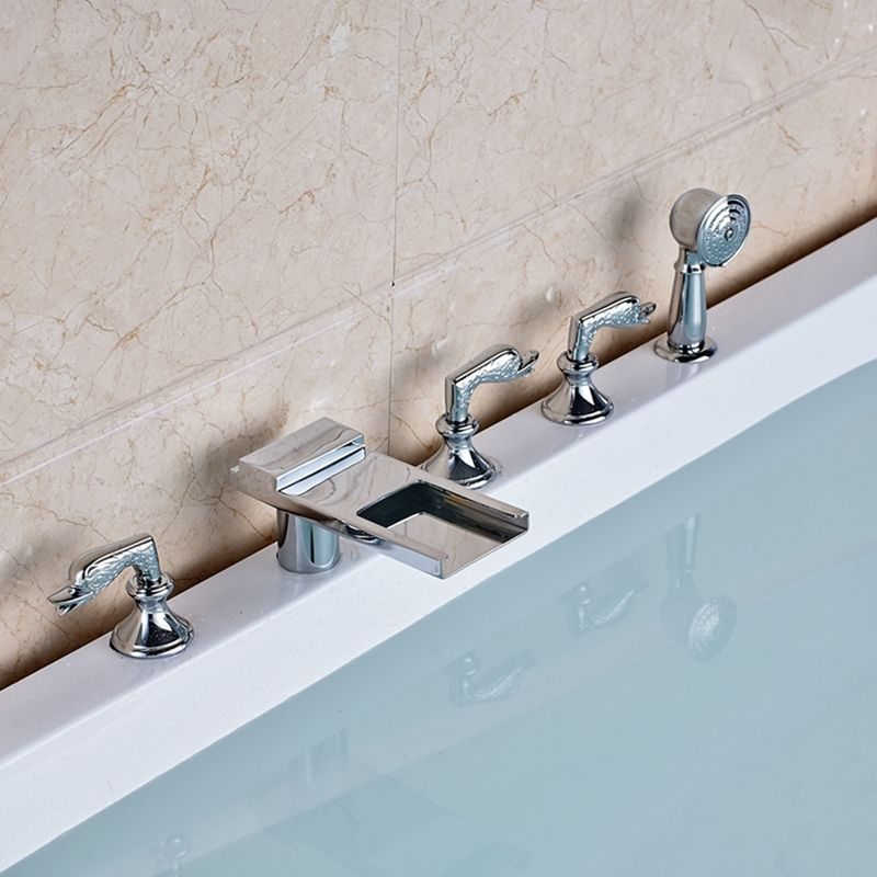 Waterfall Long Spout Widespread Bathroom Tub Faucet W/ Hand Shower ...
