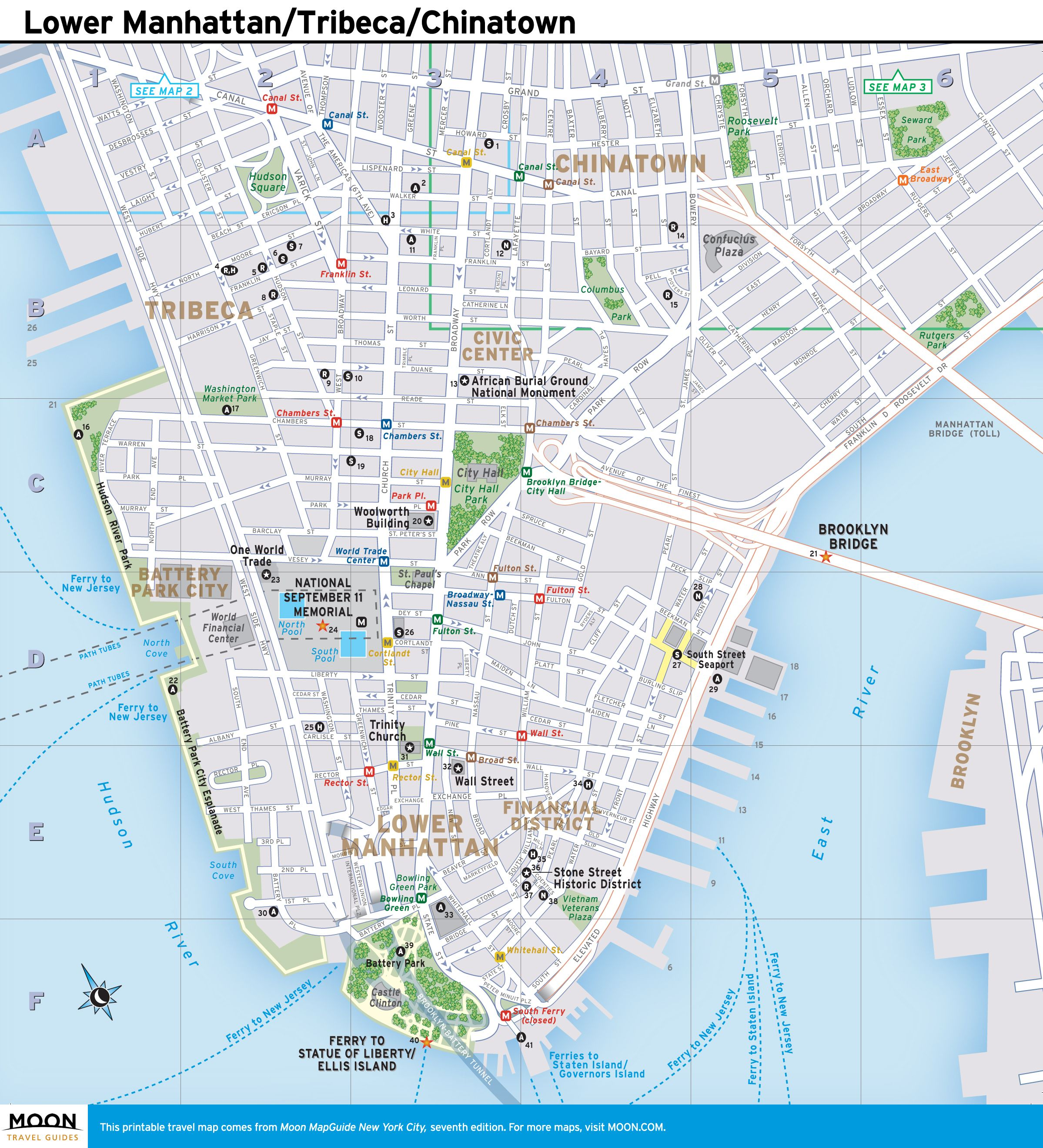 New York City Map Lower Manhattan Tribeca and Chinatown Lower