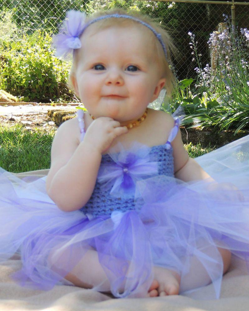 6-9 Months Purple Infant Tutu Dress & Headband for Photo Props, Parties Baby #Handmade