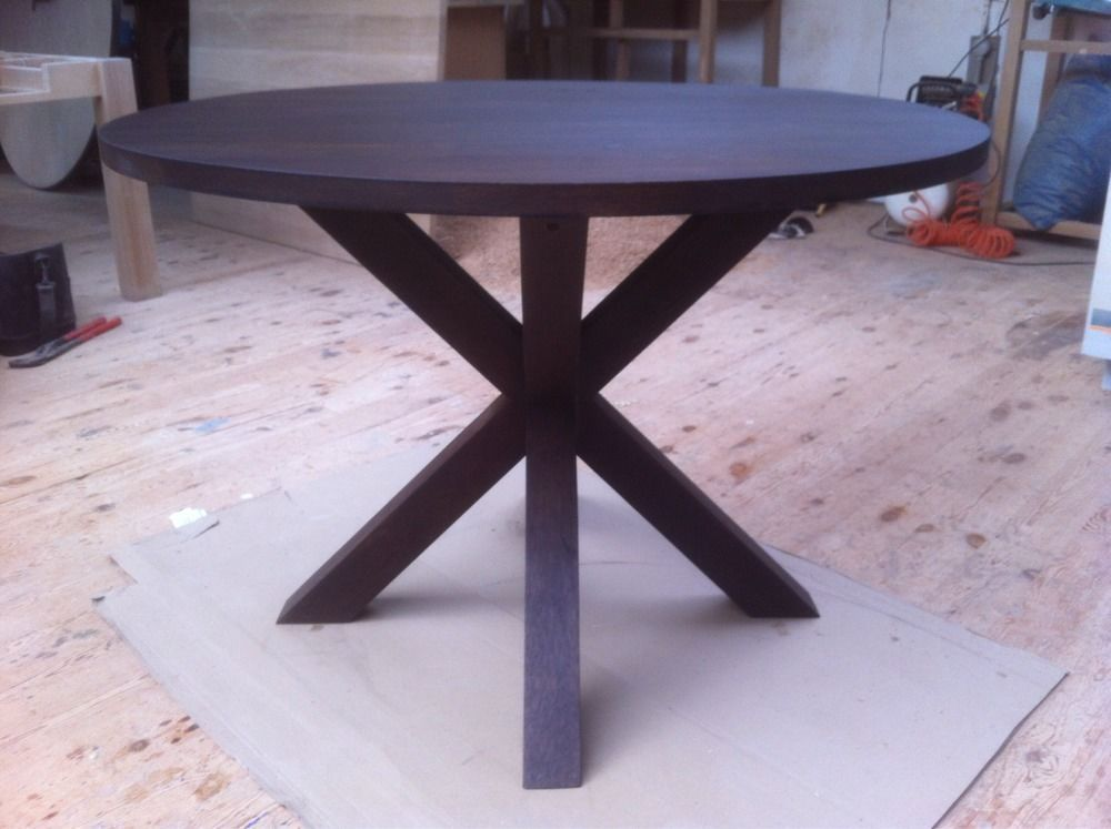 SOLID AMERICAN BLACK WALNUT ROUND CROSS LEG TABLE   HANDCRAFTED   MADE TO  ORDER Booom. I Think This Is The One £450 7:04am. Lets Celebrate By Looking  T All ...
