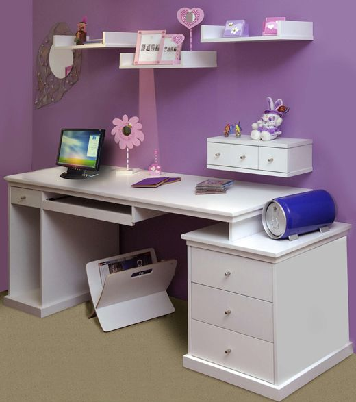 ideas de escritorios juveniles baratos a doble altura y con cajonera para guardar sus