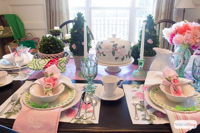 Spring Table Setting Ideas: Pink & Green Luncheon | Table settings ...