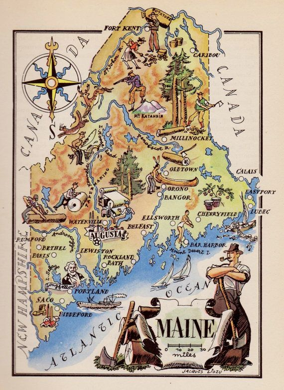 Whimsical MAINE Map of Maine Indian Logging Hunting Fishing Gallery Wall Art Vintage 1940s Picture Map Plaindealing 6375