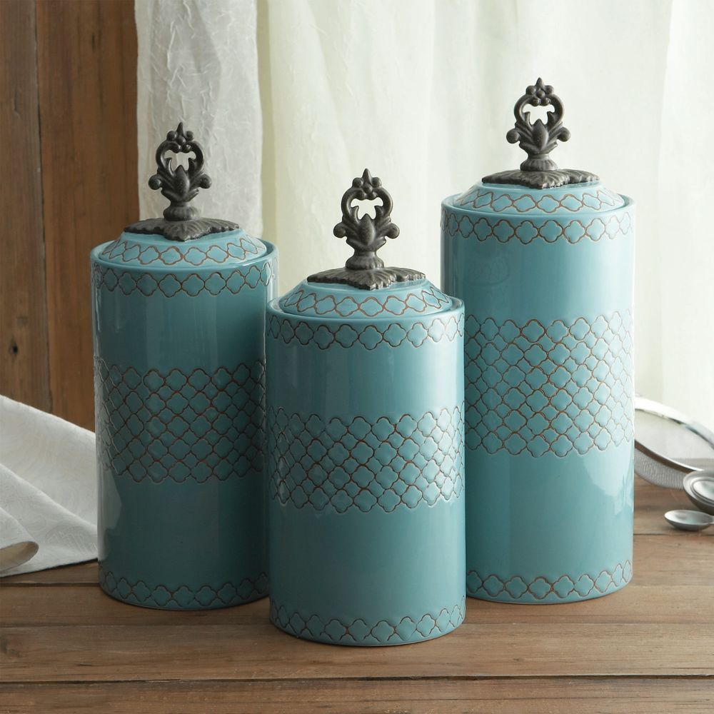 Celtic Blue Kitchen Canisters Set Brendans Saint Irish Containers Storage  New