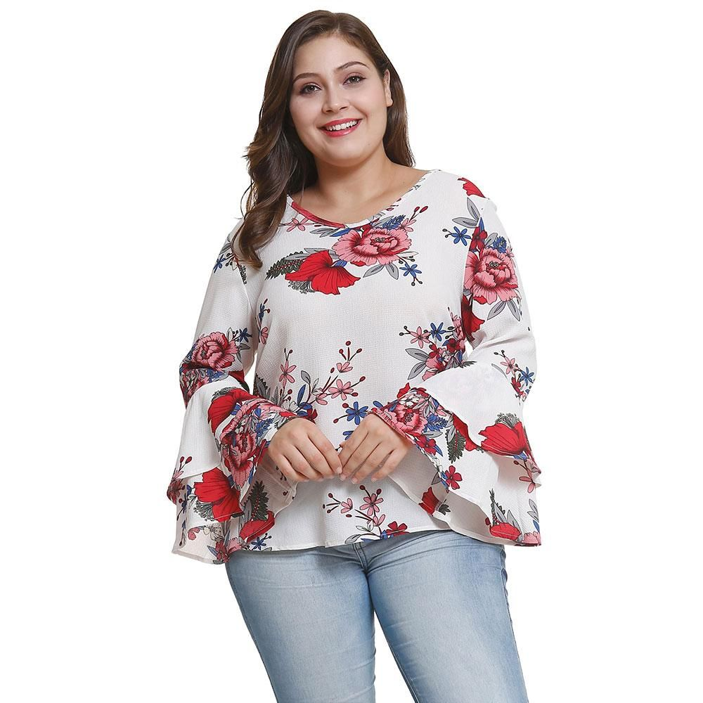Womens Plus Size Chiffon Floral Print Top Long Flared Bell Sleeve Ladies T-Dress
