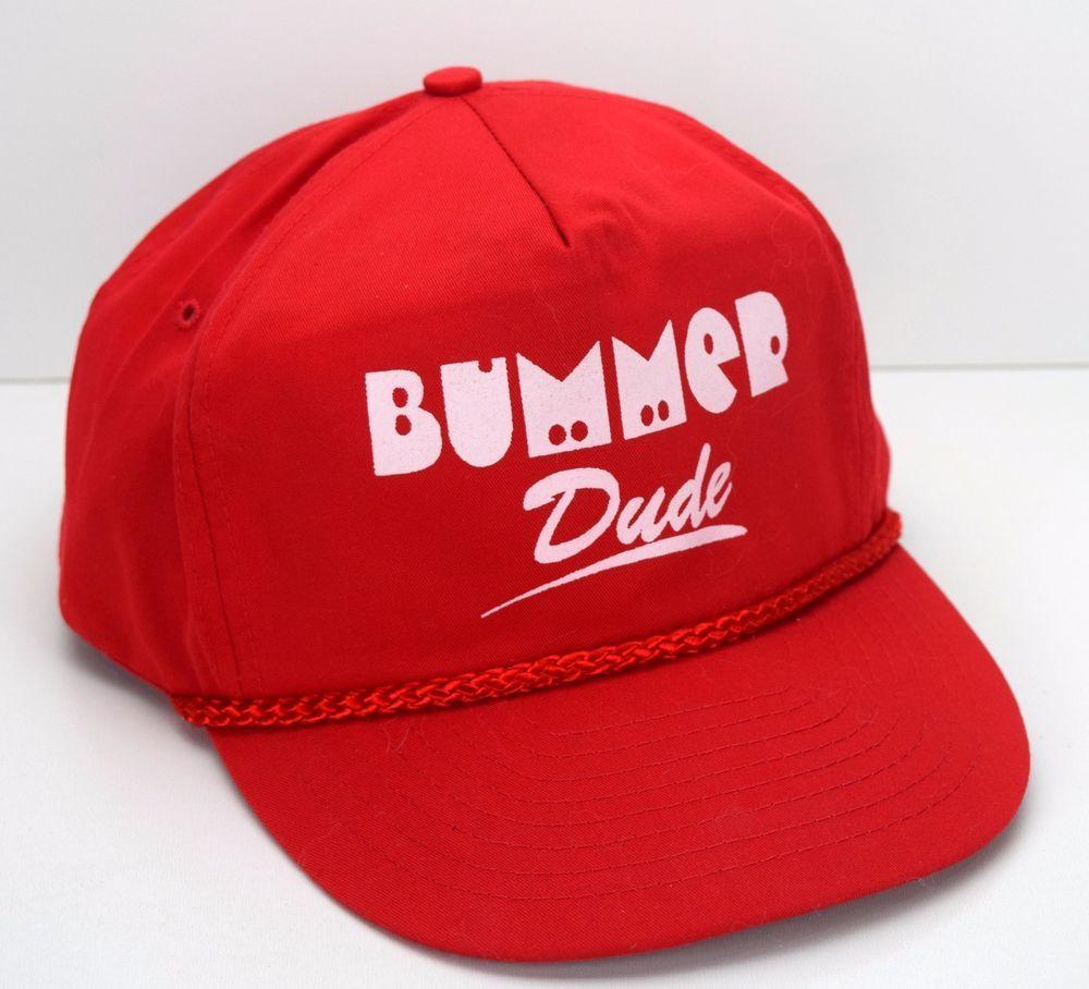 Bummer Dude Retro Truckers Cap Red Snapback Hat Braid Nissun