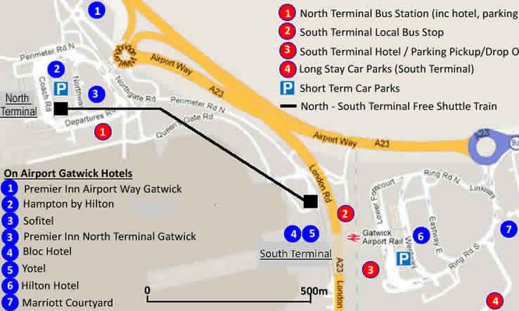 On Airport Gatwick Hotel Map Gatwick Airport Gatwick Hotel