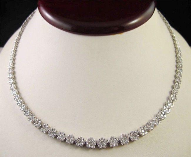 Diamond Tennis Necklace 12.50 Ct Diamond Solid White Gold Wedding