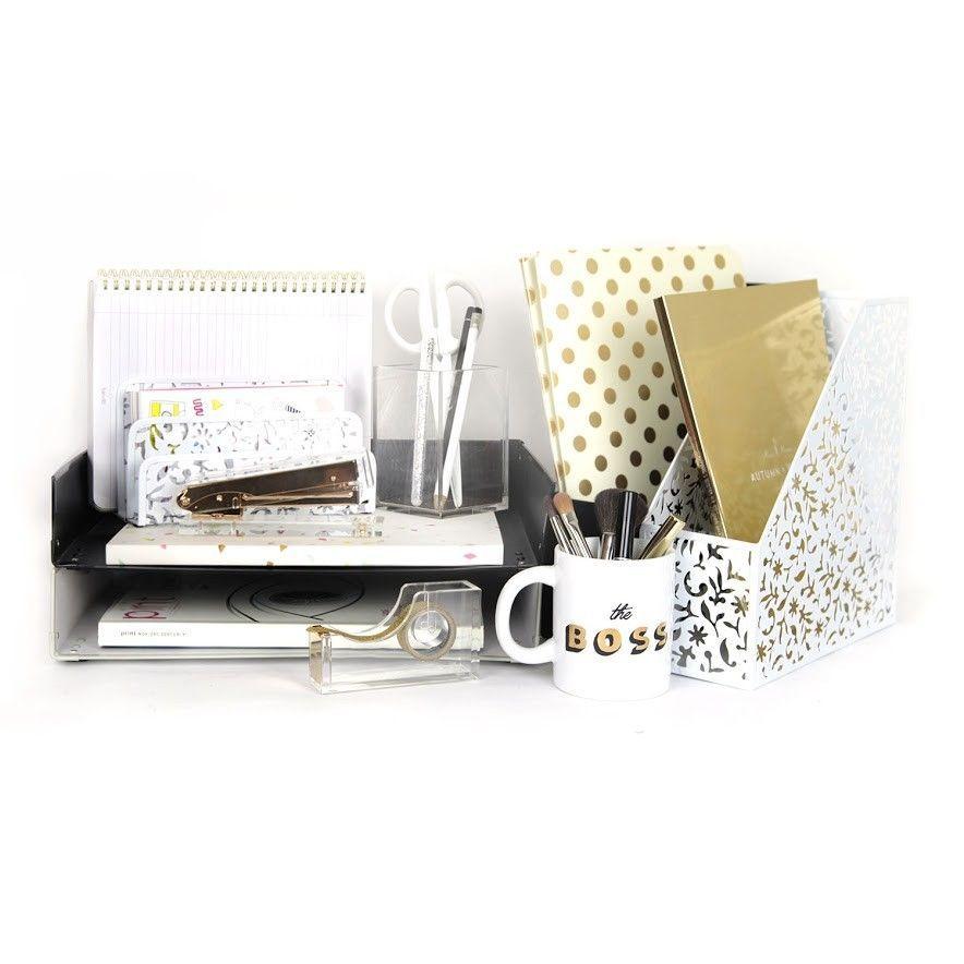 Black White And Gold Desk Collection White Office Decor White