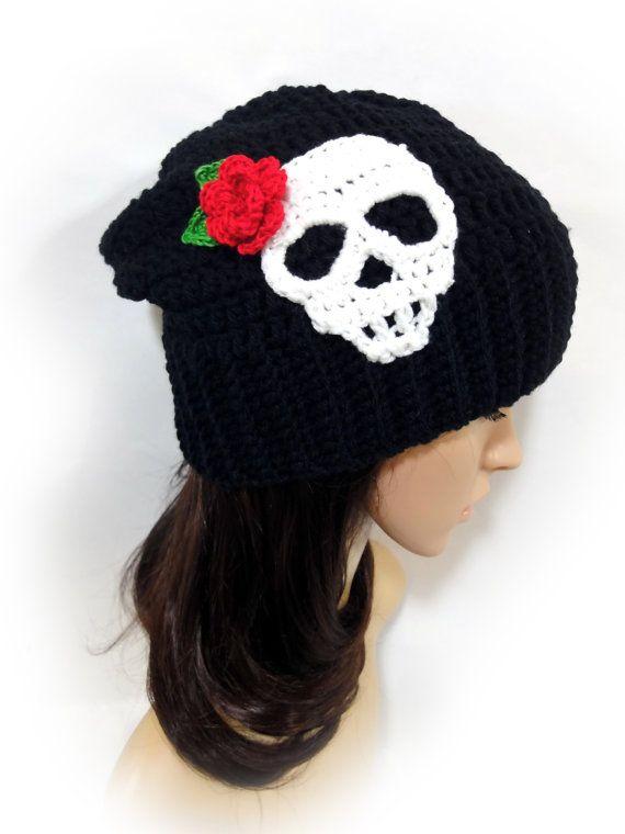 Skull and Rose Beanie. Sugar Skull Crochet Slouchy Hat. Black or 43 ...