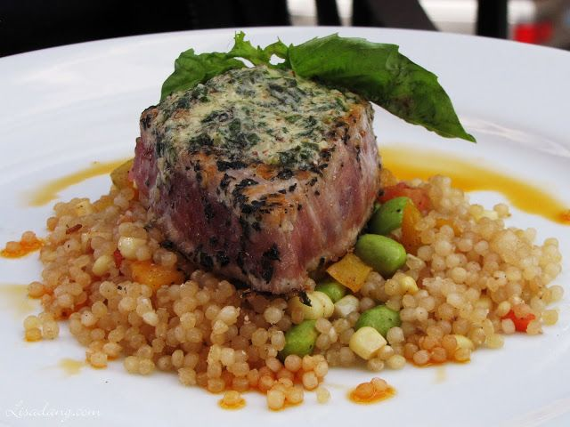Ahi Tuna Steak (Sweet Utah corn, heirloom tomatoes, edamame, toasted couscous, topped with basil-almond butter)