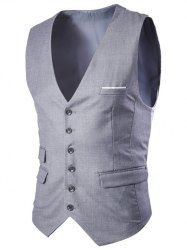 Slim Fit Men's Single Breasted Solid Color Waistcoat