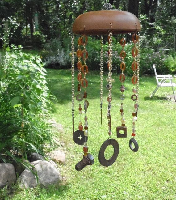 Funky Rusty Finds And Vintage Bowl Windchime Wind Chime Or Mobile Wire Wred Garden Decor Yard Art Whimsy