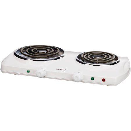 Brentwood Electric Countertop Double Burner White Heating Element Kitchen Appliances Appliances