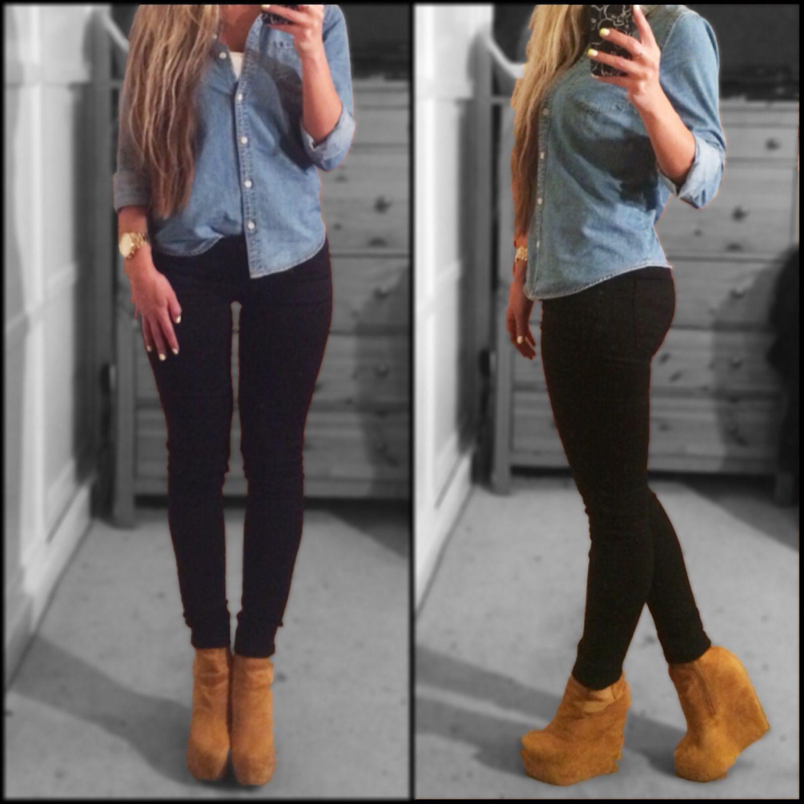 Denim button down, black skinny jeans, tan wedge booties ...