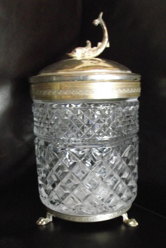Vint Silverplate Dolphin Mantle Box Jar Italian  Mid Century Hollywood Regency