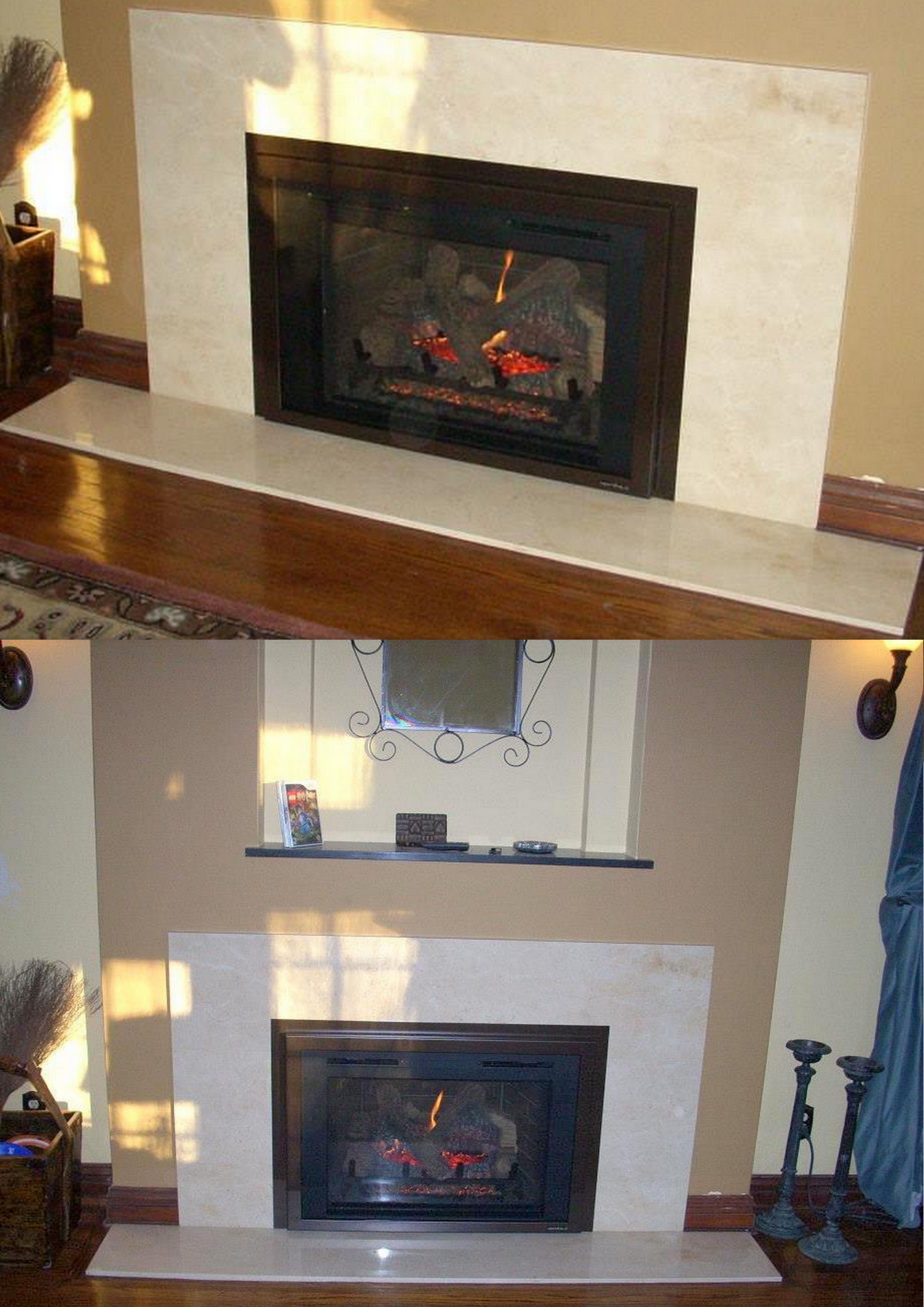 modern fireplace granite surround with alcove above jobs done by