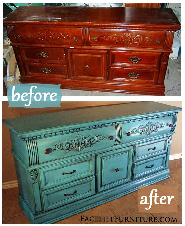 Turquoise Dresser Glazed Black - Before & After