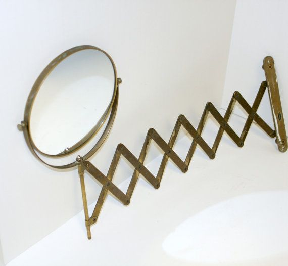 Vintage Retractable Mirror Gatco Wall Mount Brass By That70sShoppe