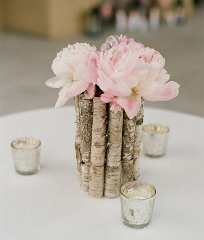 Tischdeko Holz Vase Holzstabe Rinde Teelichthalter Teellichter