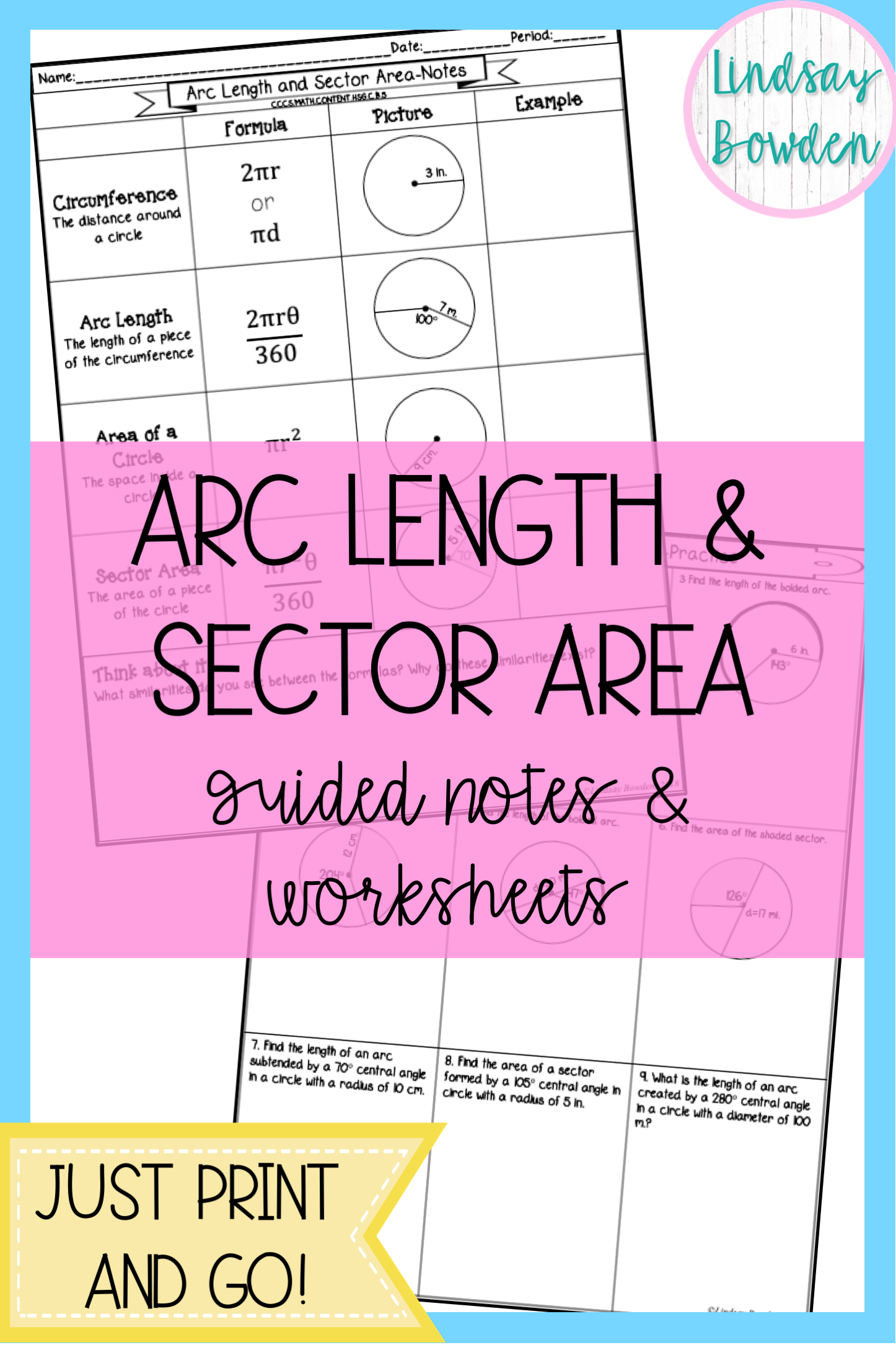Arc Length And Sector Area Worksheet