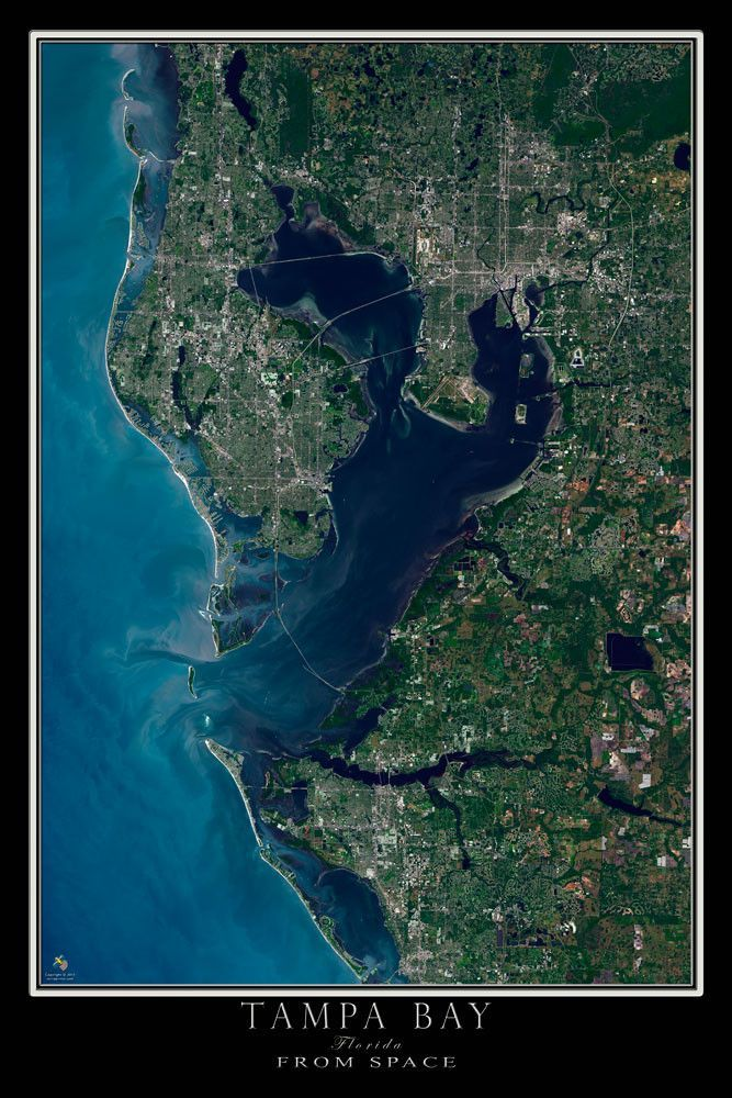 Tampa Bay Florida Satellite Poster Map Florida Pinterest Tampa