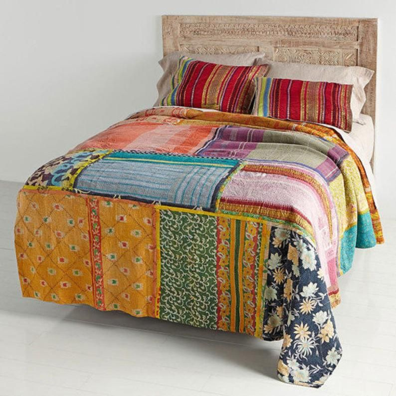 King Size Ombre Reversible Kantha Quilt Cotton Fabric Bed Cover Chic Bedspread Throw Blanket Indian Handmade Home Decor Bohemein Sofa Throw