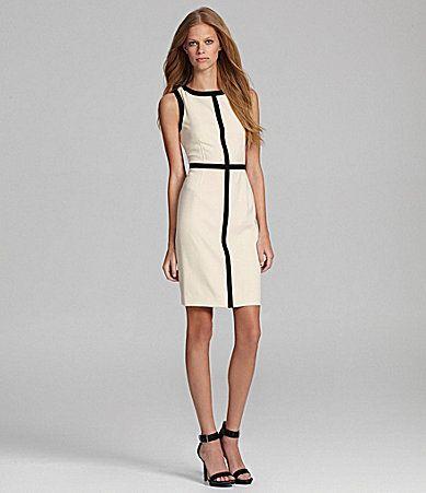 ce5553aa7d6 Calvin Klein Petites Blocked Sheath Dress  Dillards