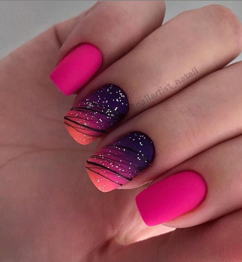 36 Sparkle Glitter Acrylnagel Designs Ideen für kurze quadratische & Mandelnäg…