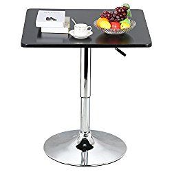 Topeakmart Modern Black Square Pedestal Table Swivel Adjustable - Adjustable height cocktail table
