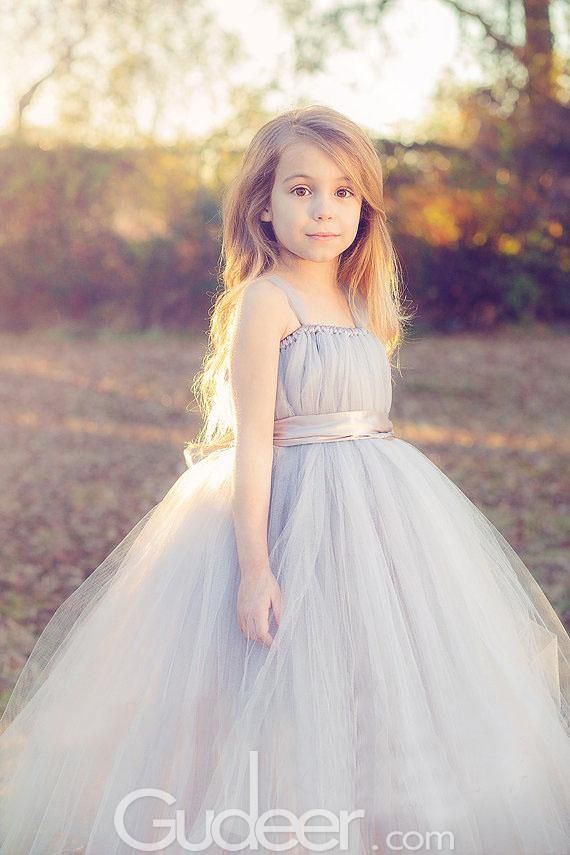 Grey Ball Gown Tulle Pleated Elder Flower Girl Dress with Straps ...