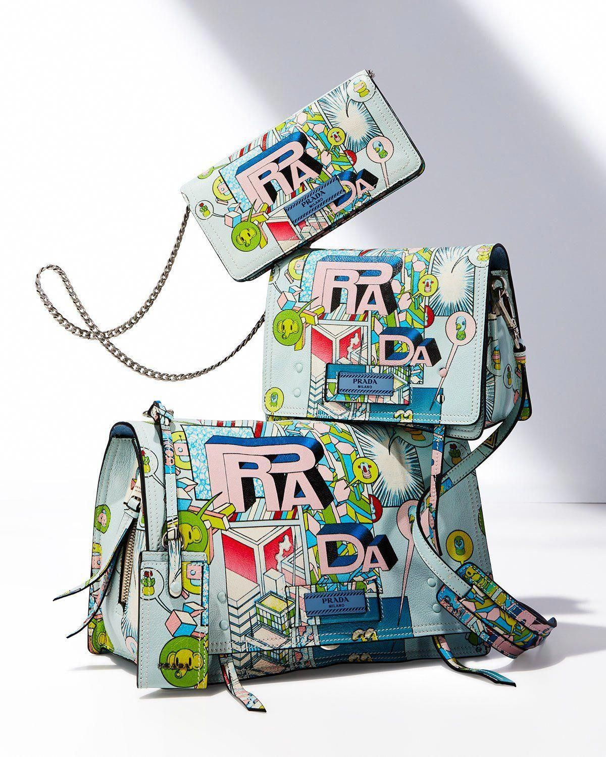8d419a22bf496d Get free shipping on Prada Etiquette Small Comic Print Shoulder Bag at  Neiman Marcus. Shop the latest luxury fashions from top designers.  #Pradahandbags