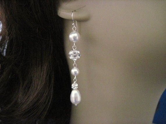 Bridal Jewelry Carly Bridal Pearl and Crystal Long by AnnsCrafts, $25.00