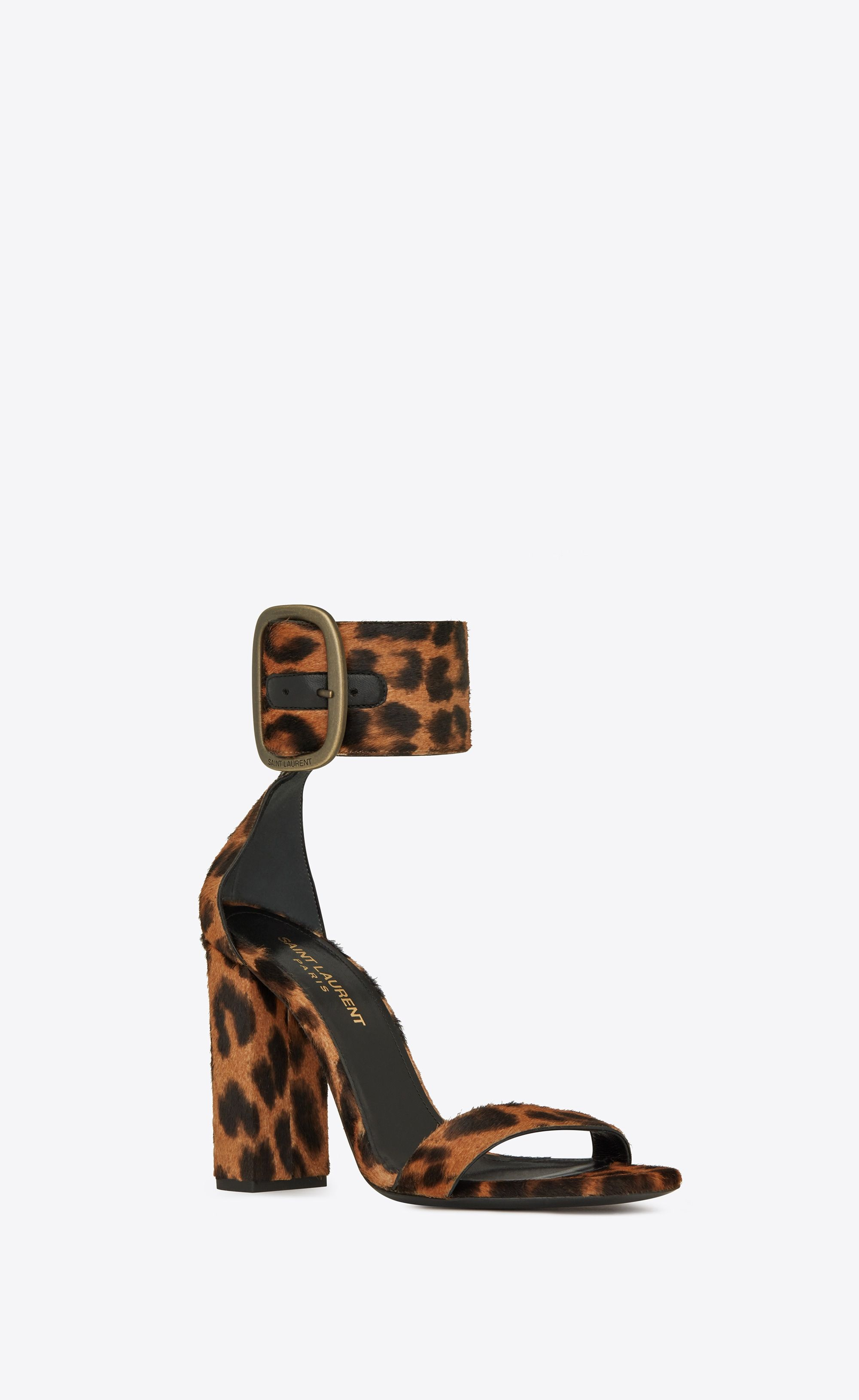0420db71fb Saint Laurent - Loulou buckle sandal in leopard printed pony ...